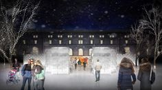 Behold a magical new addition to Rice Park – the Royal Courtyard! This ice structure will have 1,000 blocks of ice, each harvested from Lake Phalen. Inside the Courtyard will be fun activities such as a small slide, a sound and light show, the King's Chair, and legend character cutouts for photo opportunities!