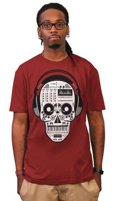Skull DJ T-shirt by Exclusive-Ape from Design By Humans. $20