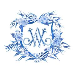 All blue watercolor wedding crest with David Austin roses: Lemontree Calligraphy & Illustration