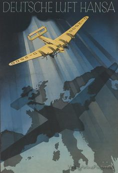Vintage Aircrafts Deutsche-Luft-Hansa-Airplane-Germany-German-Plane-Vintage-Poster-Repro-FREE-S-H -