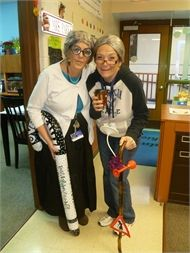 Mrs. Vaughn and Mrs. Kassen, First Grade Teachers, celebrate 100 days of school and how they would look if they were 100 years old.