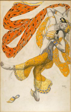 A beautiful, exotic rendering byLéon Bakst.Costume design for an Odalisque from Scheherazade, 1911,gouache, graphite, ink and metallic paint on paper, mounted on board. [Credit: National Gallery of Art] #BalletsRusses  ~Tyranny Of Style~