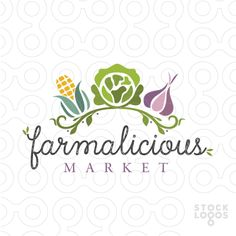 Logo For Sale This stylish design features three fresh and bright vegetables. A husk of corn, green cabbage or lettuce and purple garlic clove. The three veggies are whimsically designed with a natural leafy vine to complete this fresh design.