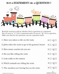Knowing the difference between a question and a statement can even trip up adults! Help your child hear and see the difference between questions and statements by filling out this worksheet. Punctuation Worksheets, 1st Grade Worksheets, School Worksheets, Writing Worksheets, Third Grade Writing, 2nd Grade Reading, Christmas Math Worksheets, Creative Writing Classes, Math Workbook