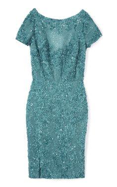 Elie Saab: Teal Embroidered Dress