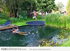 Pool disguised as pond with in ground trampoline as a faux diving board! how fun is that!not fond of pond pool but love trampoline idea! Trampolines, In Ground Trampoline, Sunken Trampoline, Trampoline Ideas, Garden Trampoline, Trampoline Swing, Diy In Ground Pool, Trampoline Cake, Trampoline Basketball