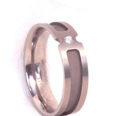 Titanium Wedding Band Ring with Clear Stone/ Size 11.5, Mens or Women's by EclairJewelry on Etsy