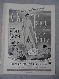 """1940's magazine movie ad One Touch of Venus Ava Gardner Robert Walker 11 x 8.5"""""""