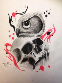 Owl and skull trash polka tattoo design by: Instagram: @ash.w.tats Twitter: @ashwtats Facebook: https://www.facebook.com/pages/Ash-Wilkinson-Tattoo-Artist/674749435985112
