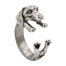 2015 nuevo anillo de la realista Dachshund Puppy Dog Animal Wrap Ring For Women regalo de la muchacha(Hong Kong)