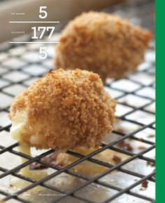 """Fried"" Cheese Balls - PER SERVING: 177 calories 5 g fat (3 g sat / 0 g mono / 0 g poly) 15 mg cholesterol 247mgsodium  23gcarbohydrate 3gfiber 13 g protein    #NowEatThis #health #cooking #recipes"