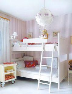 White and red stripe wallpaper for kids bedrooms |Papel pintado a rayas blancas y rojas par habitaciones de niños · www.chic-deco.com