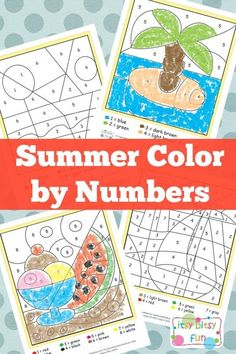 Summer Color by Numbers Worksheets for Kids --> PERFECT for travel, waiting, or poolside!