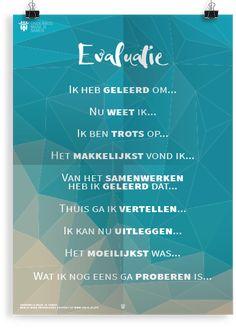 """""""Evaluatie"""" Prikkelende posters van Onderwijs Maak Je Samen Leader In Me, Team Building, Mindset, Coaching, Mindfulness, Classroom, Goals, School, Kids"""