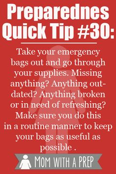 Preparedness Quick Tip - Routinely update your emergency bags of anything used, expired, broken or worn out. I needed to do this months ago. Emergency Bag, Emergency Preparedness Kit, Emergency Preparation, In Case Of Emergency, Survival Prepping, Survival Skills, Survival Gear, Survival Quotes, Emergency Planning