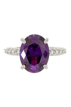 Sterling Silver Amethyst Oval CZ Ring