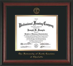 UNC Charlotte Diploma Frame - Rosewood - w/UNCC seal Black/Gold – Professional Framing Company
