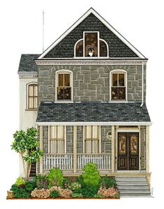 House Portraits by Adrienne Langer Building Illustration, House Illustration, Illustrations, Building Drawing, House Quilts, House Drawing, Architecture Drawings, Paper Houses, Little Houses