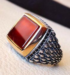 carnelian red aqeeq rectangular square stone man ring agate