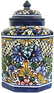 The wonderfully intricate floral patterns of these classically styled Talavera kitchen canisters will complement any kitchen décor!  The ceramic of these Talavera canisters is hand-painted in Dolores Hidalgo, Mexico, and embodies all the charm of Mexican Talavera.  The Talavera canister lids sit inside of the base for a secure fit.  Each pattern is also available in a 'Set of Three' below at a reduced cost; so be sure to purchase enough canisters for all of your kitchen baking goods and…