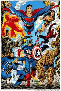 Marvel/DC heroes by John Byrne Marvel Comics Superheroes, Dc Comics Art, Marvel Heroes, Marvel Characters, Marvel Vs, Fictional Characters, Comic Book Heroes, Comic Books Art, Comic Art