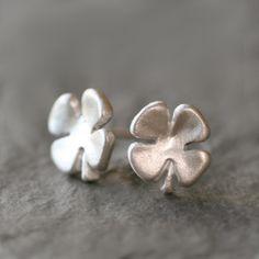 Small Four Leaf Stud Earrings in Sterling Silver by MichelleChangJewelry on Etsy https://www.etsy.com/listing/197951330/small-four-leaf-stud-earrings-in