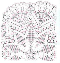 Heklanje plus: Šema 177 - Velik ukrasni motiv Crochet Doily Diagram, Crochet Doily Patterns, Crochet Mandala, Crochet Chart, Thread Crochet, Filet Crochet, Crochet Flowers, Crochet Stitches, Crochet Table Topper