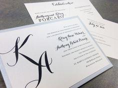 Custom wedding invitation with script initial monogram by Paperwhites (paperwhites-invitations.com) #black #silver