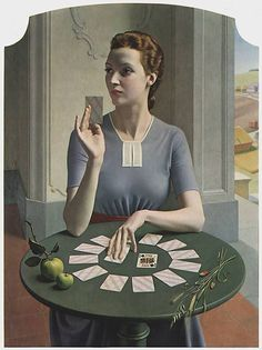 A game of patience by Meredith Frampton (1937)