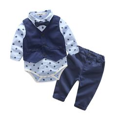 Top and Top Autumn Fashion infant clothing Baby Suit Baby Boys Clothes Gentleman Bow Tie Rompers + Vest + pants Baby Set(China) Baby Outfits, Vest Outfits, Newborn Outfits, Kids Outfits, Denim Outfit, Pants Outfit, Stylish Outfits, Romper Suit, Romper Pants