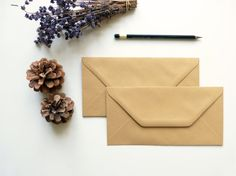 Brown Paper Envelopes DL 11 x by PaperPerfectionCo on Etsy Paper Envelopes, Brown Paper, Gift Packaging, My Etsy Shop, Wraps, Hair Accessories, Creative, Gifts, Handmade