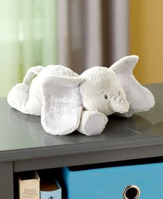 Personalized Plush Elephant makes an outstanding gift for a newborn. With its soft cuddly coat, it's sure to be loved by baby for years to come. The elephant ha