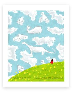 I still do this......isn't it fun to see things in the clouds? New print from @sarahjanestudios