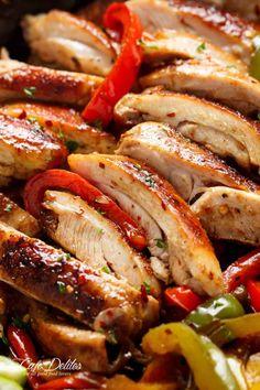 Best Chicken Fajitas - Cafe Delites Healthy Chicken Dinner, Easy Baked Chicken, Baked Chicken Recipes, Beef Recipes, Cooking Recipes, Healthy Recipes, Chicken Meals, Roast Chicken, Cooking Ideas