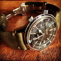 Longines Legend Diver with horween leather strap from Worn & Wound