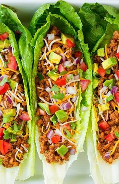 Lettuce tacos - Make your weeknight tacos healthy with these Turkey Taco Lettuce Wraps! They're a breeze to throw together and are full of delicious flavors from ground turkey, delicious spices and all your favorite Taco Lettuce Wraps, Lettuce Wrap Recipes, Taco Wraps, Best Lettuce For Wraps, Lettuce Cups, Low Carb Recipes, Cooking Recipes, Healthy Recipes, Lunch Recipes