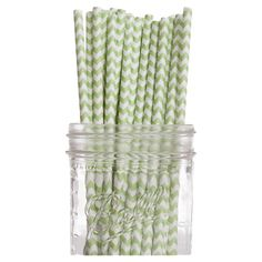 Mint Chevron Paper Straw (Set of 100)