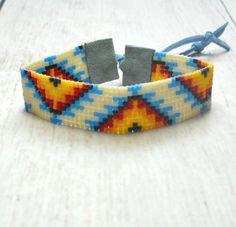 Bead Loom Bracelet  Tribal Seed Bead Bracelet  Womens