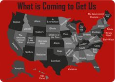 Horror coming to get us on Halloween night state by state! LOL. Bigfoot is gonna get us here!