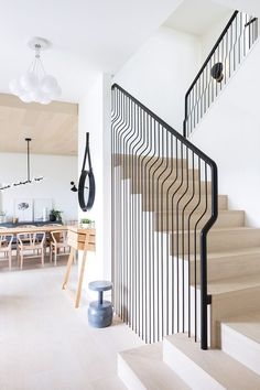 The design of a minimalist home staircase is important in the design of a minimalist house. In the design of a house, the presence of stairs is part of the interior of the house tha… Home Stairs Design, Railing Design, Interior Stairs, Interior Architecture, House Design, Stair Design, Design Design, Design Ideas, Stair Handrail