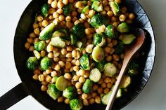 Brussels Sprouts and Chickpeas: Food 52 Chickpea Recipes, Veggie Recipes, Vegetarian Recipes, Cooking Recipes, Healthy Recipes, Veggie Dishes, Side Dishes, Sprout Recipes, Bean Recipes