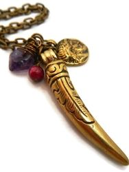 BOHO Tusk Necklace featuring a Fair Trade Nepal Pendant, Amethyst Crystal and Coin.  #bohofashion $75 www.jewelrybyandrea.com