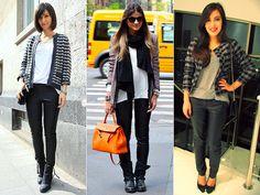 Calça de couro mais casaco tweed- Just lia
