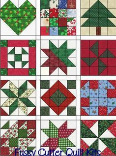 Christmas Scrappy Calico Holiday Fabrics Easy Patchwork Pre-Cut Sampler Block of the Month Quilt Blocks Top Kit Quilting Squares material