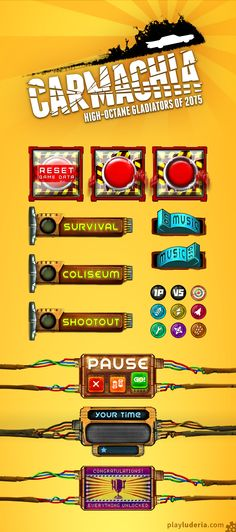 Interface sheet for Carmachia, a 2-player game for mobile devices by Luderia. www.playluderia.com