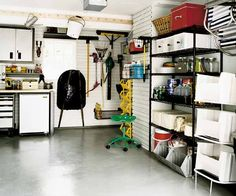 Why open shelving is generally better than closed cabinets within a garage.
