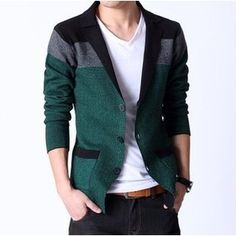 New Arrival Spring Men's Knitted Blazer Casual Slim Cardigan Sweater Korea Fashion Suits Jacket Men FS-030 US $31.58