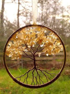 Citrine Gemstone Tree of Life Window or Wall Ornament Made to Order 3 inches in diameter ships USPS Priority USA FC International Tree Of Life Jewelry, Tree Of Life Pendant, Wire Crafts, Jewelry Crafts, Wall Ornaments, Wire Trees, Creation Deco, Citrine Gemstone, Beads And Wire