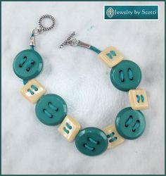 JEWELRY BY SCOTTI: Teal Button Bracelet, Teal Turquoise Jewelry, Boho, Found Objects Bracelet, Turquoise Jute Bracelet, Ivory Cream Buttons, Fun Bracelet www.jewelrybyscotti.com #handmade #gifts #jewelry #ooak #fashion
