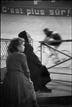 """Henri Cartier-Bresson - Paris. 1957.  Winter Velodrome. """"Les 6 jours de Paris""""."""